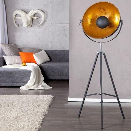 Stehlampe SPOT Schwarz-Gold 160cm Höhe verstellbar - 2
