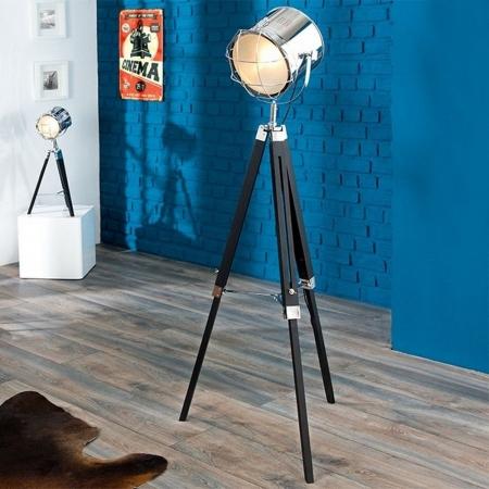 Stehlampe STUDIO Schwarz und Chrom mit Gestell aus Holz 110-150cm Höhe - 1