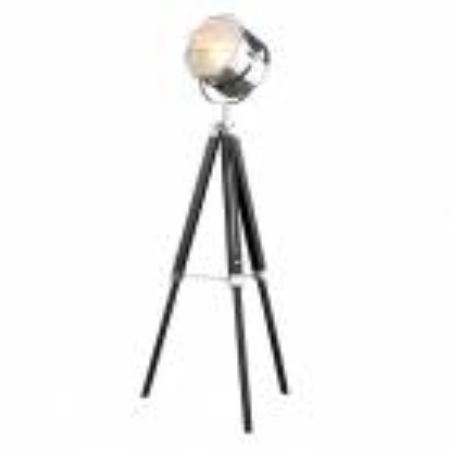 Stehlampe STUDIO Schwarz und Chrom mit Gestell aus Holz 110-150cm Höhe - 2