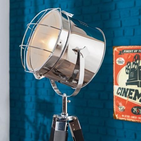 Stehlampe STUDIO Schwarz und Chrom mit Gestell aus Holz 110-150cm Höhe - 3