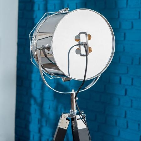 Stehlampe STUDIO Schwarz und Chrom mit Gestell aus Holz 110-150cm Höhe - 4