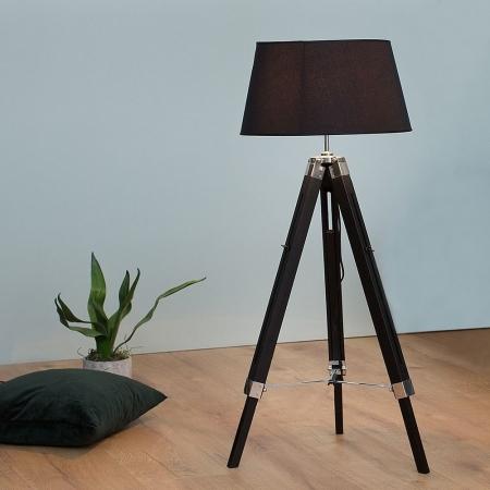 Stehlampe CUP Schwarz mit Dreibein-Gestell Braun aus Kiefernholz 100-145cm Höhe - 2