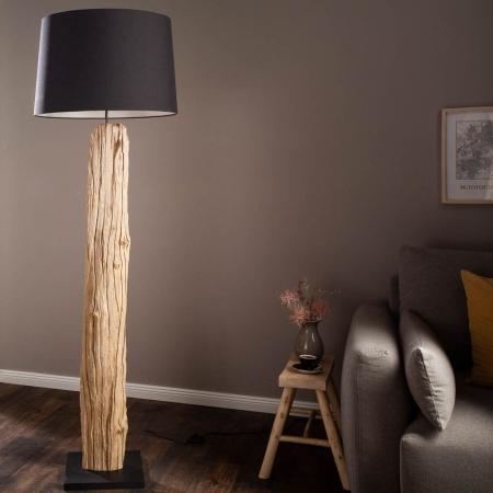 XL Stehlampe SUMATRA Schwarz aus Treibholz handgefertigt 175cm Höhe - 1