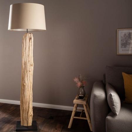 XL Stehlampe SUMATRA Beige aus Treibholz handgefertigt 175cm Höhe - 1
