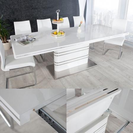 Esstisch KYOTO Weiß Hochglanz & Chrom 160-220cm ausziehbar - 1