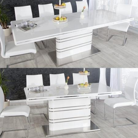 Esstisch KYOTO Weiß Hochglanz & Chrom 160-220cm ausziehbar - 2