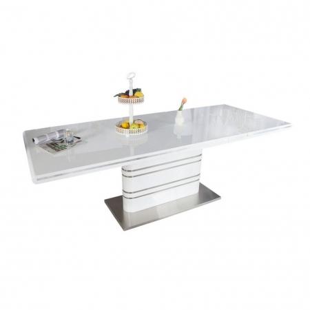 Esstisch KYOTO Weiß Hochglanz & Chrom 160-220cm ausziehbar - 3