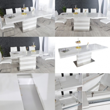Esstisch KYOTO Weiß Hochglanz & Chrom 160-220cm ausziehbar - 4
