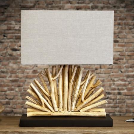 Tischlampe JAVA Beige im Fächer-Form aus Treibholz handgefertigt 50cm Höhe - 3
