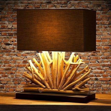 Tischlampe JAVA Braun im Fächer-Form aus Treibholz handgefertigt 50cm Höhe - 1