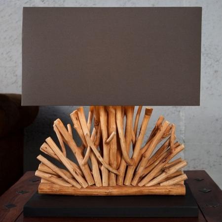 Tischlampe JAVA Braun im Fächer-Form aus Treibholz handgefertigt 50cm Höhe - 2