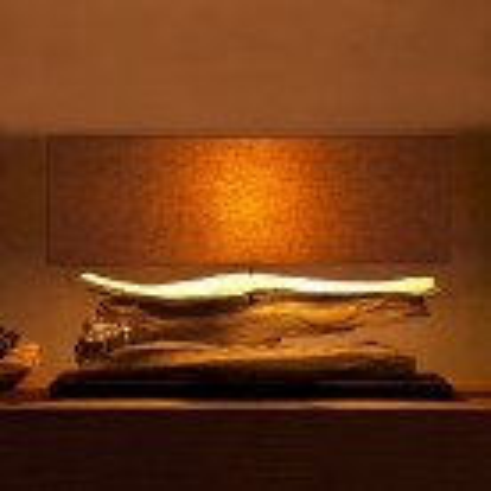 XL Tischlampe TIMOR Beige aus Treibholz handgefertigt 80cm Breite - 1