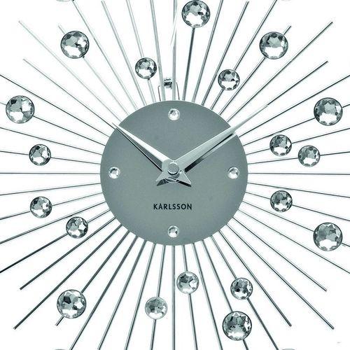 Wanduhr BALL Silber mit Kristallkugeln 30cm Ø - 1