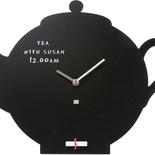 Wanduhr KITCHEN Teekanne Schwarz 45cm Länge - 1