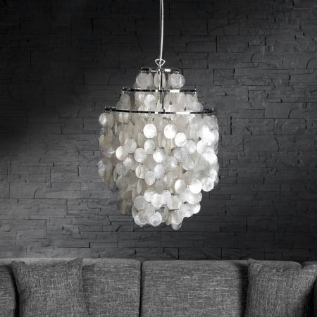 Hängelampe SHELL Weiß aus echt Perlmutt 64cm Höhe - 1