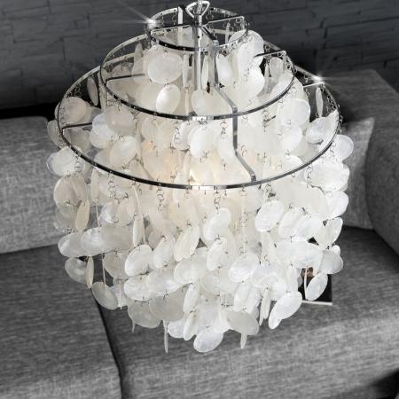 Hängelampe SHELL Weiß aus echt Perlmutt 64cm Höhe - 2