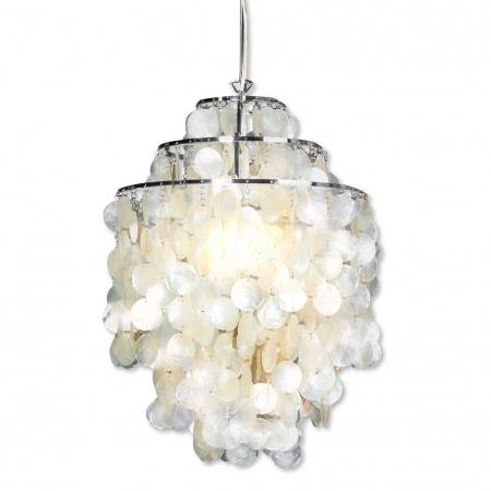 Hängelampe SHELL Weiß aus echt Perlmutt 64cm Höhe - 3