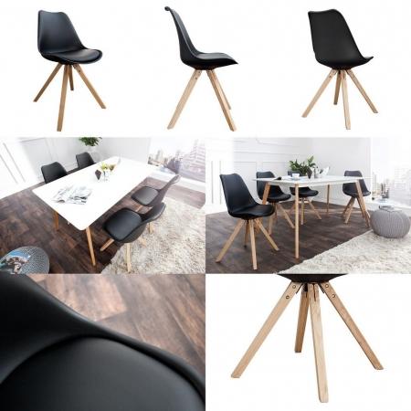 Retro Stuhl GÖTEBORG Schwarz-Eiche im skandinavischen Stil - 3
