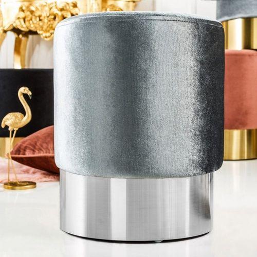 Sitzhocker POMPIDOU Silber aus Samtstoff mit Silber Metallsockel in Barock-Design 35cm x 41cm - 1