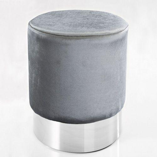 Sitzhocker POMPIDOU Silber aus Samtstoff mit Silber Metallsockel in Barock-Design 35cm x 41cm - 2