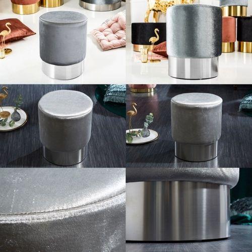 Sitzhocker POMPIDOU Silber aus Samtstoff mit Silber Metallsockel in Barock-Design 35cm x 41cm - 3