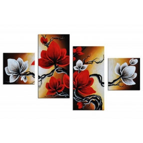 4 Leinwandbilder MAGNOLIA (4) 80 x 50cm Handgemalt - 1