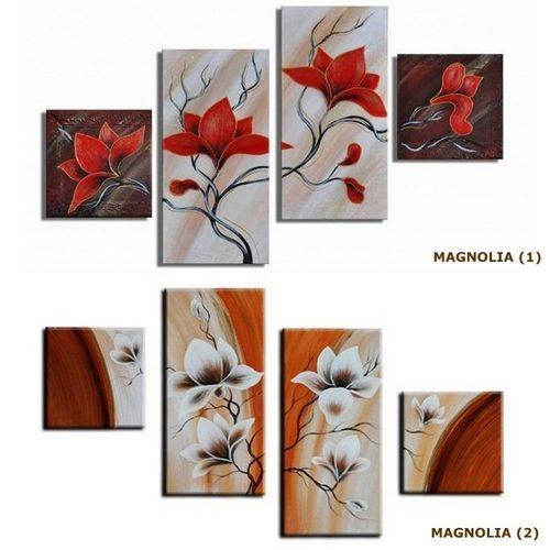 4 Leinwandbilder MAGNOLIA (4) 80 x 50cm Handgemalt - 3