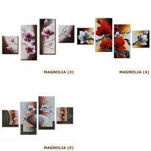 4 Leinwandbilder MAGNOLIA (4) 80 x 50cm Handgemalt - 4