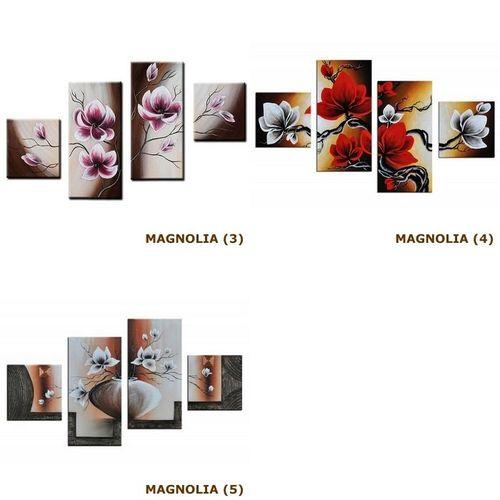 4 Leinwandbilder MAGNOLIA (5) 80 x 50cm Handgemalt - 4