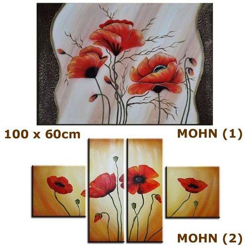 4 Leinwandbilder MOHN (4) 100 x 70cm Handgemalt - 3
