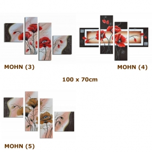 4 Leinwandbilder MOHN (4) 100 x 70cm Handgemalt - 4
