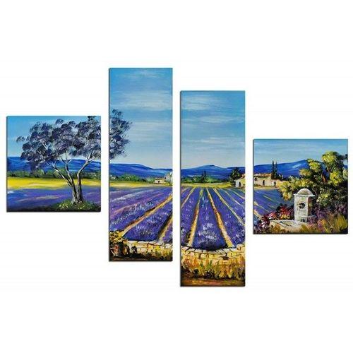 4 Leinwandbilder LAVENDELFELD (1) 100 x 70cm Handgemalt - 1