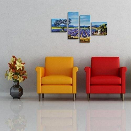 4 Leinwandbilder LAVENDELFELD (1) 100 x 70cm Handgemalt - 3
