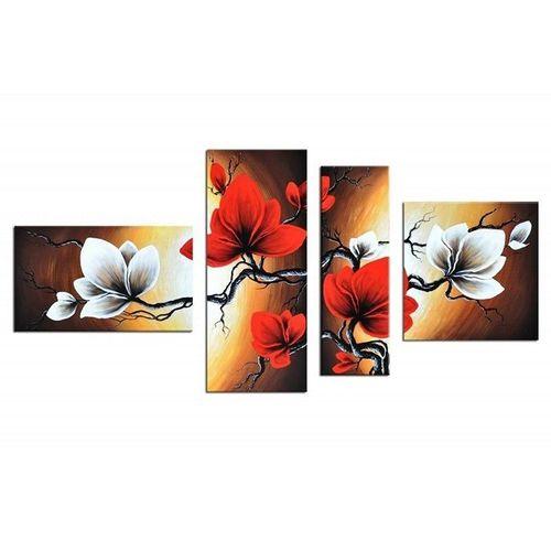 4 Leinwandbilder BLUMEN (1) 140 x 80cm Handgemalt - 1