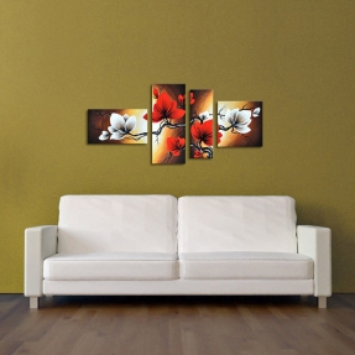 4 Leinwandbilder BLUMEN (1) 140 x 80cm Handgemalt - 3