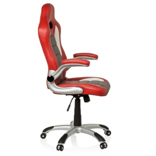 Chefsessel RACING MONZA Rot-Grau-Weiß aus Kunstleder - 3