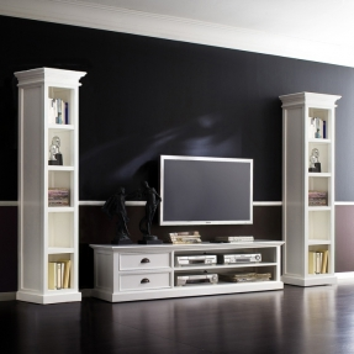 Mahagoni TV-Tisch JOSEPHINE Antikweiß 120 x 45cm - 3
