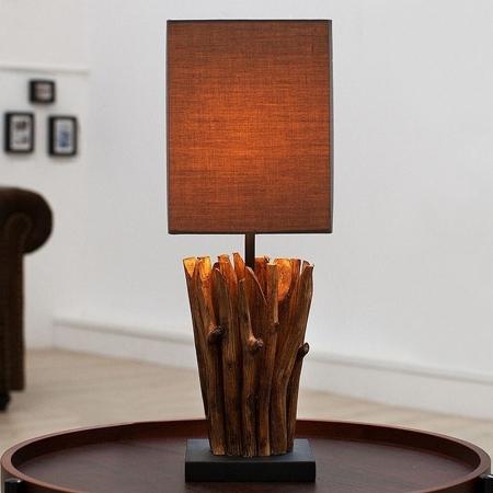 Tischlampe PENANG Grau-Braun aus Treibholz handgefertigt 45cm Höhe - 1