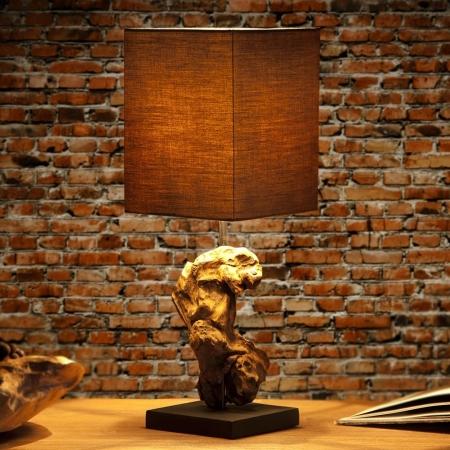 Tischlampe MEDAN Grau-Braun aus Treibholz handgefertigt 45cm Höhe - 1
