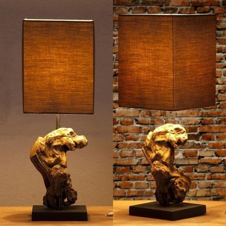 Tischlampe MEDAN Grau-Braun aus Treibholz handgefertigt 45cm Höhe - 2
