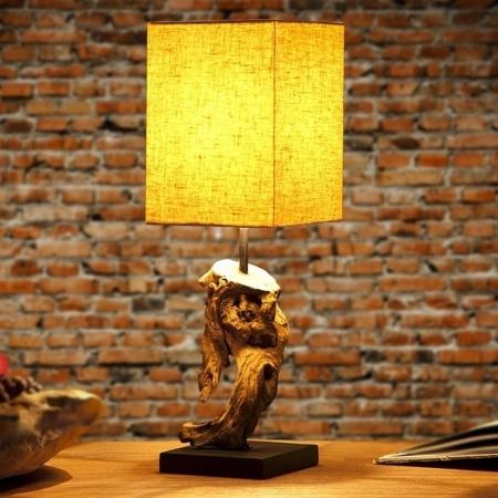 Tischlampe JAMBI Beige aus Treibholz handgefertigt 45cm Höhe - 1