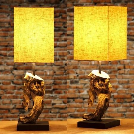 Tischlampe JAMBI Beige aus Treibholz handgefertigt 45cm Höhe - 2