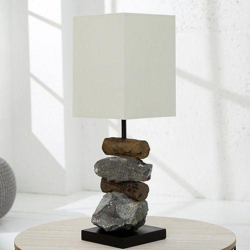 Tischlampe MIRI Weiß aus Steinen & Treibholz handgefertigt 45cm Höhe - 1