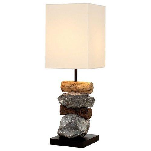 Tischlampe MIRI Weiß aus Steinen & Treibholz handgefertigt 45cm Höhe - 2