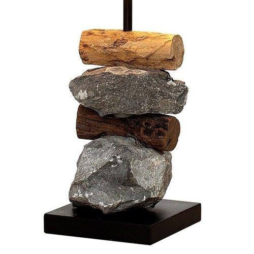 Tischlampe MIRI Weiß aus Steinen & Treibholz handgefertigt 45cm Höhe - 3