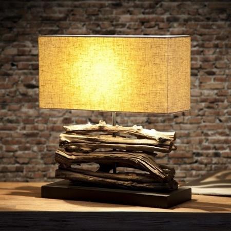 Tischlampe AMBON Beige aus Treibholz handgefertigt 40cm Höhe - 1