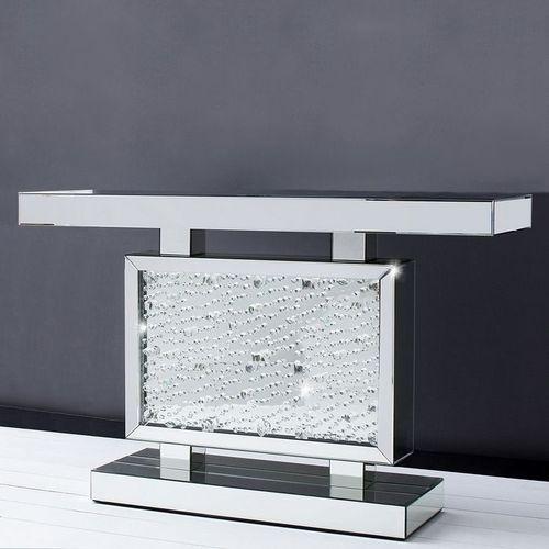 Glamouröse Konsole LUXOR mit Spiegelrahmen und funkelnden Kristallen 120cm - 1