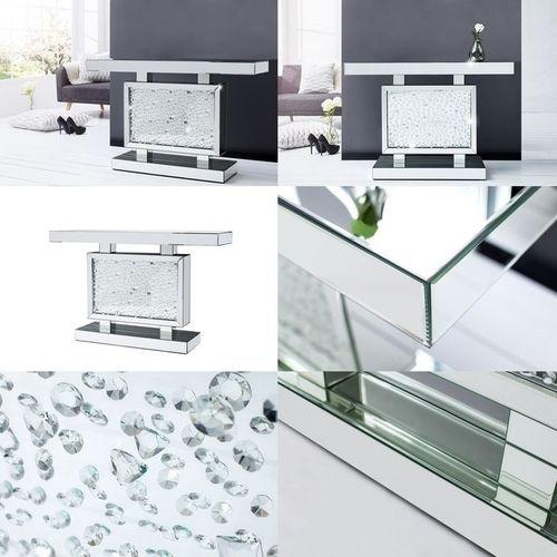 Glamouröse Konsole LUXOR mit Spiegelrahmen und funkelnden Kristallen 120cm - 4