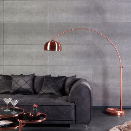 Bogenlampe LUXX Kupfer glänzend mit Kupferfuß 170-210cm Höhe - 1