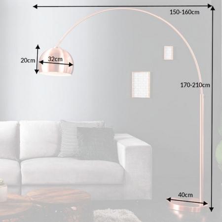 Bogenlampe LUXX Kupfer glänzend mit Kupferfuß 170-210cm Höhe - 6